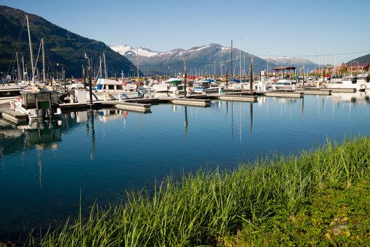 Motorboats Yachts  Sailboats Port Harbor Marina Whittier Alaska