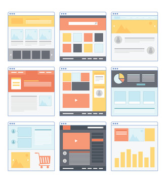 Flat Website Wireframe with different variation and smooth color