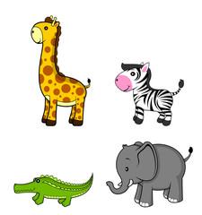 wild animal.giraffe.zebra.elephant.crocodile