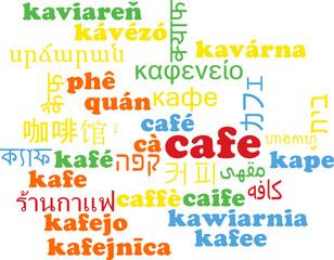Café multilanguage wordcloud background concept
