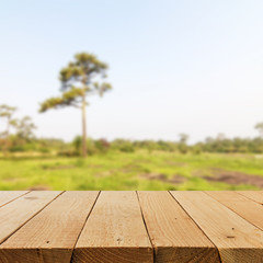 Defocused and blur image of terrace wood and Beautiful landscape