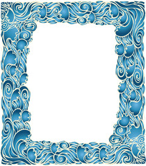 Marine waves frame decotation.Vector blue graphic background