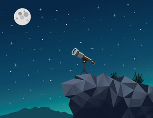 Romantic night sky with stars, moon and binoculars. Our dreams and goals. Vector simple illustration.