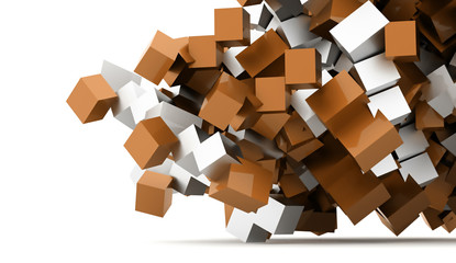 Abstract geometric cubes background rendered