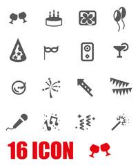 Vector grey birthday icon set