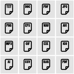 Vector black file type icon set