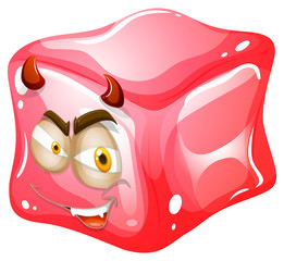 Pink cube with devil look