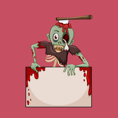 Zombie with axe on the head
