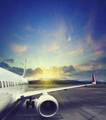 airplane wing at airport. vintage business travel concept. Vintage style picture