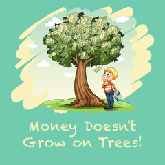 Man watering tree full of money.