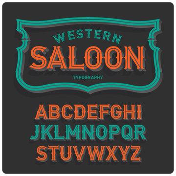 Vintage western style volume font with emblem frame. Dark background.