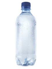 Mineral water bottle cut out on white - Stock Image