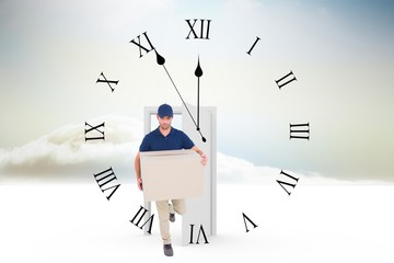 Composite image of delivery man