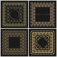 Set of outline frame for design monogram. Elements of the ornament of gold color on a black background with space for logo.