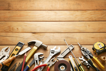tools on wood planks Wall mural