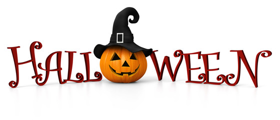 Halloween - carved pumpkin with witch hat - banner