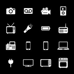 Electronic device icons. Electronic icon. Vector. Silhouette. Wh
