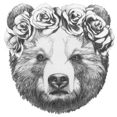 Original drawing of Bear with floral head wreath. Isolated on white background