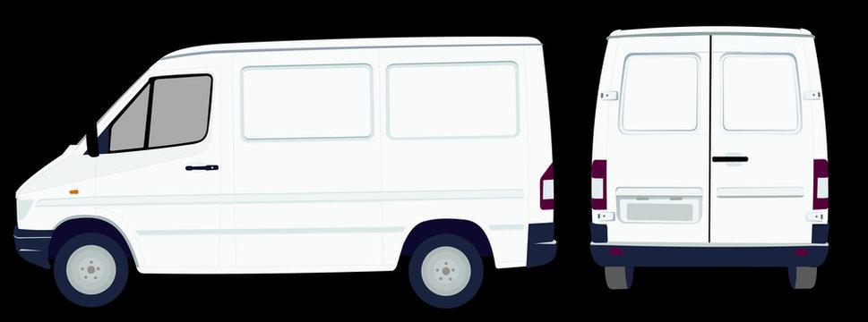 Фургон Спринтер в натуральную величину в векторе, вид сбоку и сзади