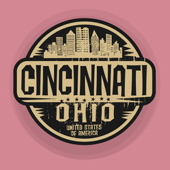 Stamp or label with name of Cincinnati, Ohio