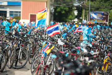 """ROI-ET,Thailand - 16 AUGUST 2015 : Unidentified Cyclist in prepared """"Bike For Mom"""", event show respected to Queen of Thailand, ROI-ET, Thailand. record to Guinness Book of World Records."""