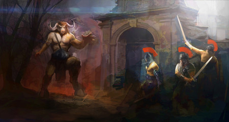 Minotaur fighting brave heroes