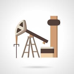 Oil pump jack flat color vector icon