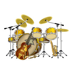 vector illustration instruments jazz band drums, guitar, saxophone and trumpet, isolated object on a white background, can be placed on any graphics work both individually and as a whole.