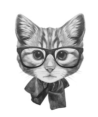 Hand drawn portrait of Cat glasses and bow. Vector isolated elements.