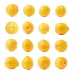 Single yellow mirabelle plum isolated