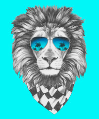 Hand drawn portrait of Lion with sunglasses and scarf. Vector isolated elements.