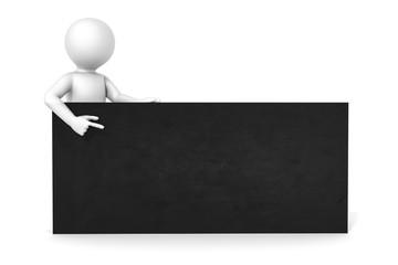 3d man black board