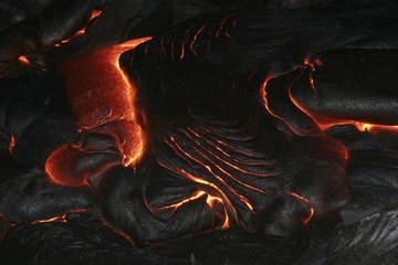 hawaii - pahoehoe lava at night