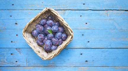 fresh plums form the rural garden, free copy space