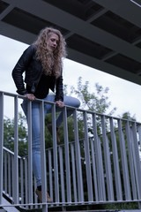 Suicide female standing on bridge