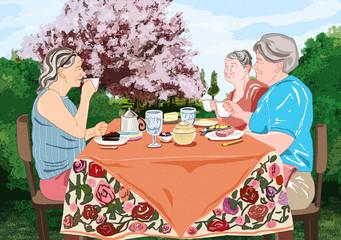 Illustration of sweet life for elderly people