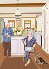 Illustration of sweet life for elderly people