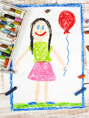 colorful drawing: happy girl with balloon