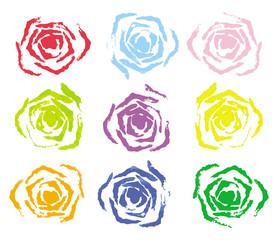 Set of 9 colorful rose stamp (Vector Illustration)