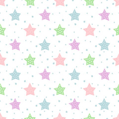 Seamless star pattern for kids holidays. Pastel colors baby shower vector background. Cute child drawing style star sky illustration.