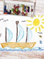 colorful drawing: sailing boat  in the sea