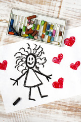 colorful drawing: girl and hearts