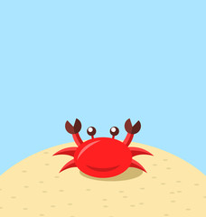 Cartoon cheerful crab at the beach, natural seascape