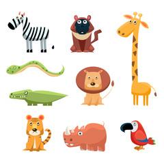 African Animals Fun Cartoon Clip Art Collection. Brightly