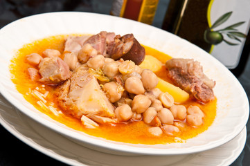 "The famous ""Cocido Madrileño"". A delicious spanish stew with chickpeas, sausages, potatoes, cabbage and various tips of meat."
