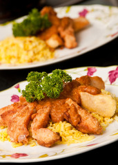 """Crispy fish """"fingers"""" with curry sauce and rice"""