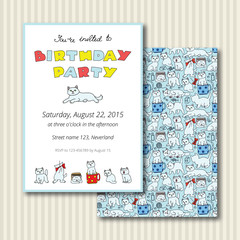 Doodle invitation card with cute cats