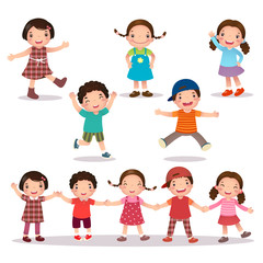 Happy kids cartoon holding hands and jumping