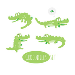 Vector seamless set with cute cartoon crocodiles.