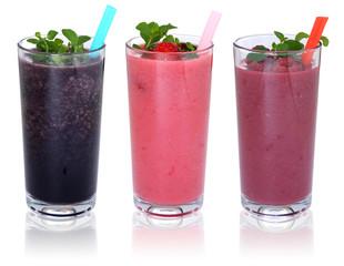 Smoothie Saft mit Früchte Milchshake Fruchtsaft in einer Reihe